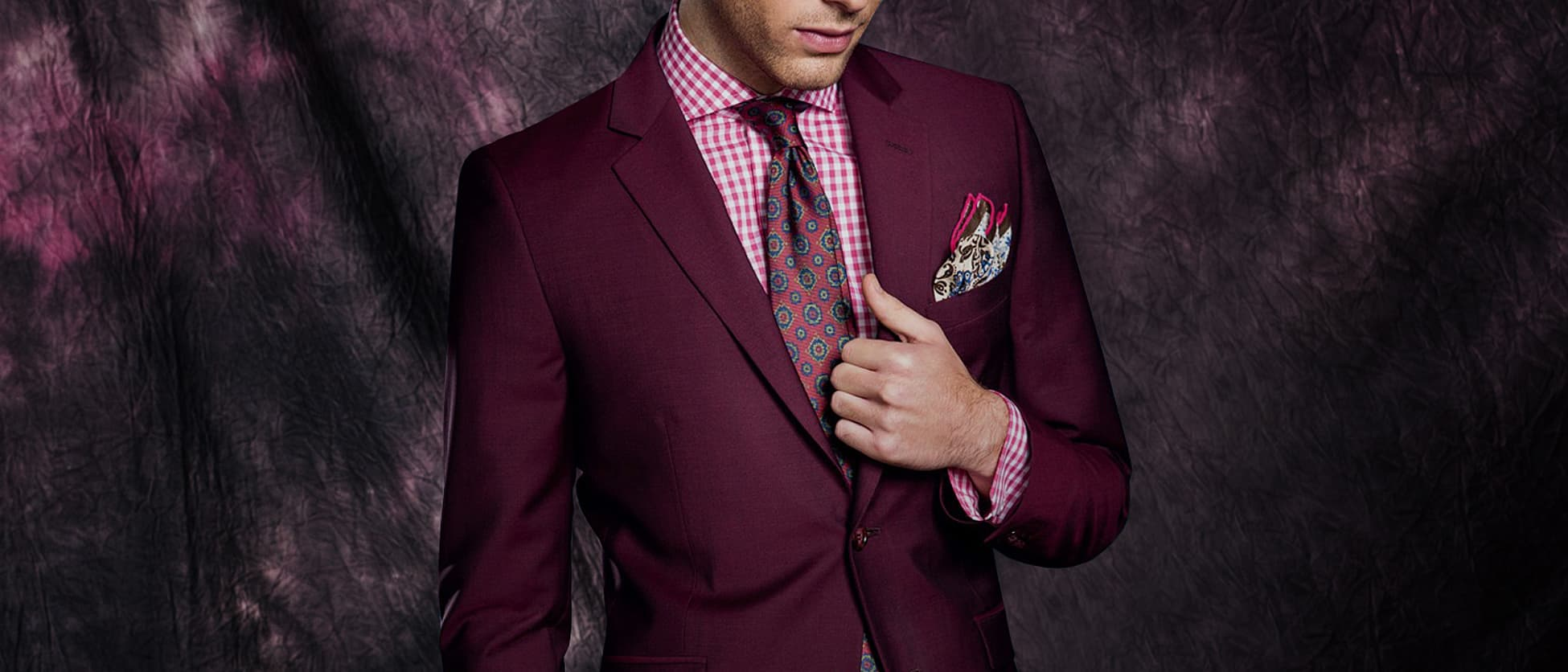 red colourful tailor made suit