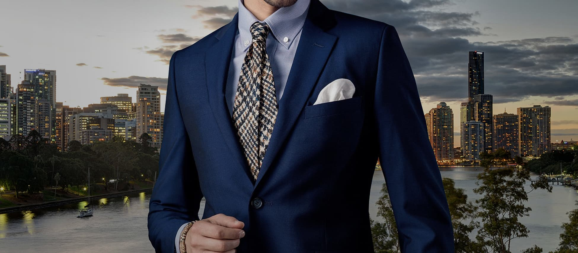 businessman wearing a navy blue bespoke tailored suit at Brisbane city