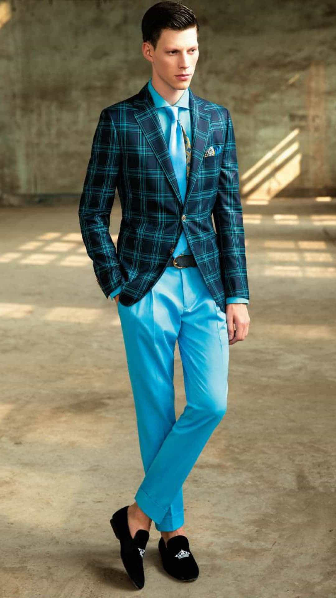 Bespoke bright blue trousers